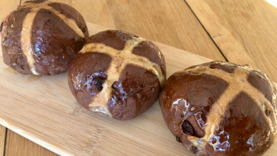 Decadent Chocolate & Cherry Hot Cross Buns
