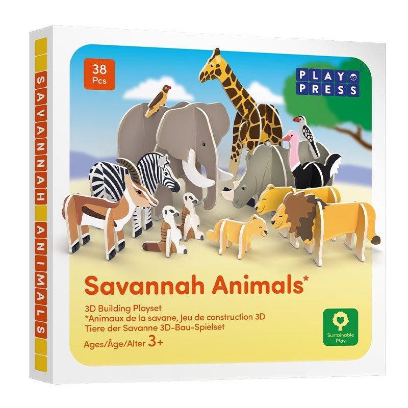 Playpress Savannah Animals Pop-Out Eco-Friendly Playset (4+)