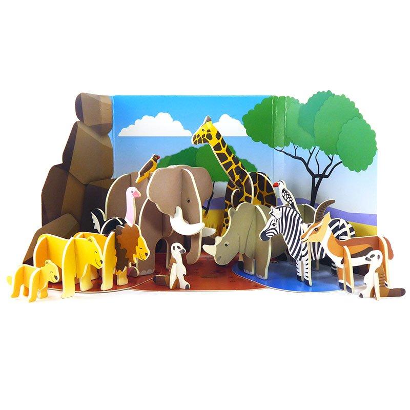 Playpress Savannah Animals Pop-Out Eco-Friendly Playset (4+) 3