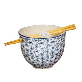 Japanese Sashiko Pattern Noodle Bowl With Chopsticks - Hand Painted by Sass & Belle