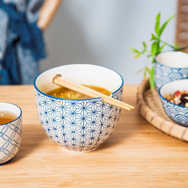 Japanese Sashiko Pattern Noodle Bowl With Chopsticks - Hand Painted by Sass & Belle 3