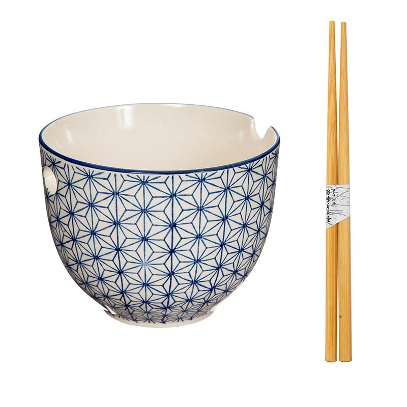 Japanese Sashiko Pattern Noodle Bowl With Chopsticks - Hand Painted by Sass & Belle 2