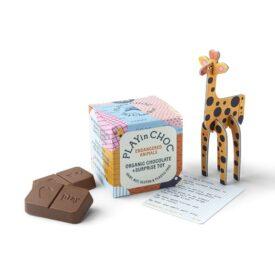 PLAYin Choc Organic Dairy Free Chocolate + Endangered Animals Surprise Plastic-Free Toy (20g)