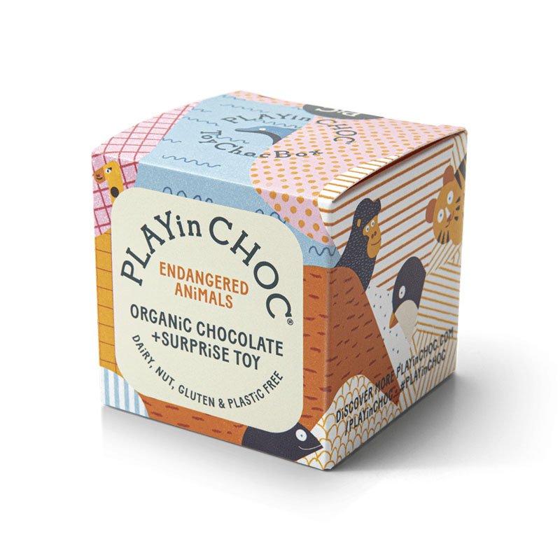 PLAYin Choc Organic Dairy Free Chocolate + Endangered Animals Surprise Plastic-Free Toy (20g) 2