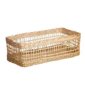 Handmade Seagrass Rectangular Basket by Sass & Belle