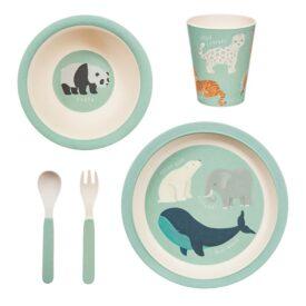 Endangered Animals Bamboo Children's Tableware Set by Sass & Belle