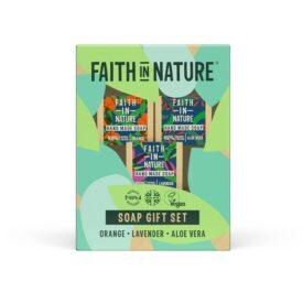 Faith In Nature Handmade Soap Bar Gift Set - Orange, Lavender & Aloe Vera (3 x 100g)