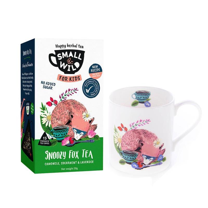 Small & Wild Snoozy Fox Kids Herbal Tea & Mug Gift Set