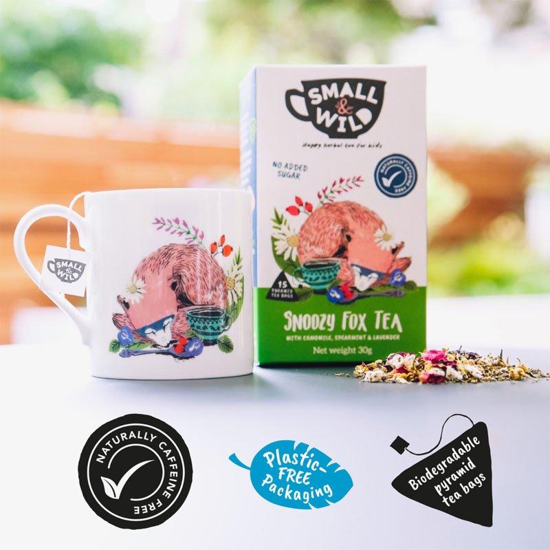 Small & Wild Snoozy Fox Kids Herbal Tea & Mug Gift Set 2