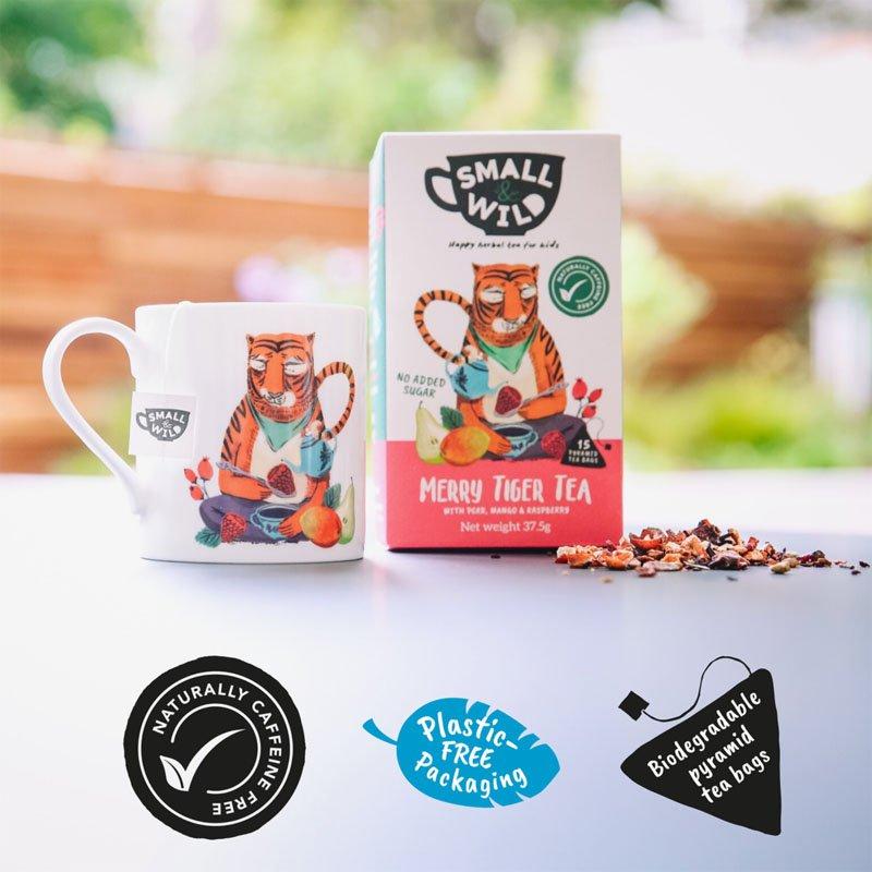 Small & Wild Merry Tiger Kids Fruit Tea & Mug Gift Set 2