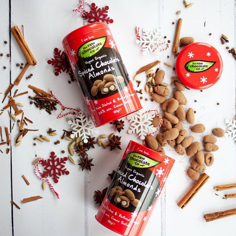 The Raw Chocolate Co Organic Spiced Vegan Chocolate Almonds Gift Tin (180g) 2