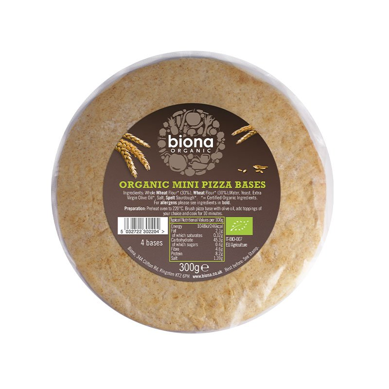 Biona Organic Mini Pizza Bases - 4 Pack (300g)