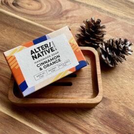 Handmade Festive Soap & Acacia Wood Soap Dish Hand-Tied Gift Set
