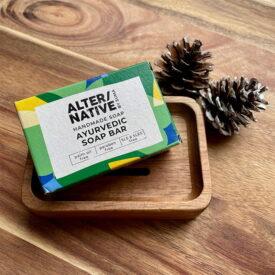 Handmade Festive Ayurvedic Soap & Acacia Wood Soap Dish Hand-Tied Gift Set